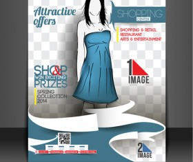 Shopping flyers cover with girl vector illustration 01