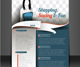 Shopping flyers cover with girl vector illustration 02