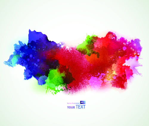 Splash watercolor stains background vector material 02