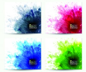 Splash watercolor stains background vector material 03
