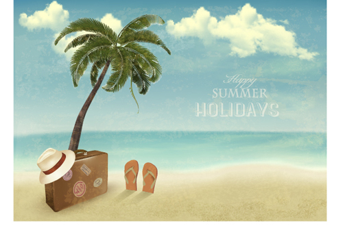Summer Holidays Happy Travel Background Vector Graphic 02