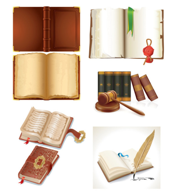 Vintage book design elements vector set