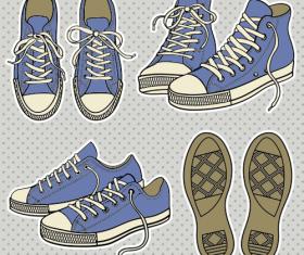 Vintage canvas shoes design elements