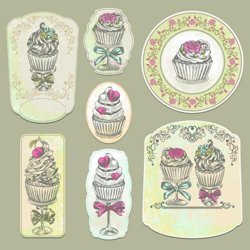 Vintage cupcakes labels creative vector 02 - Vector Food, Vector Label ...