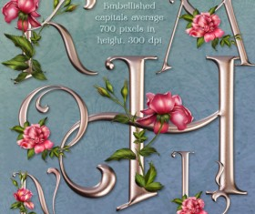 Vintage metal text with rose psd