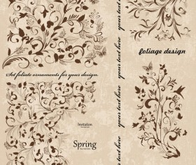 Vintage spring floral ornaments elements vector 02