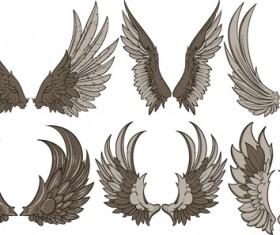 Vintage wings design vector set 02