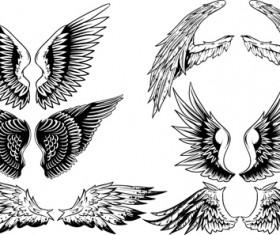 Vintage wings design vector set 03