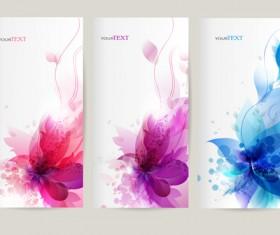 Watercolor flower vertical banner design 01