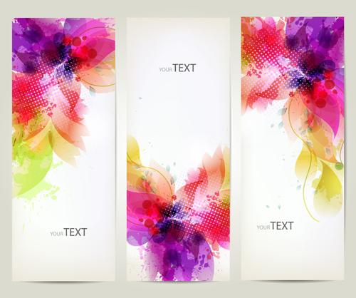Watercolor flower vertical banner design 03