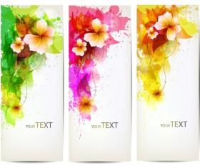 Watercolor flower vertical banner design 04