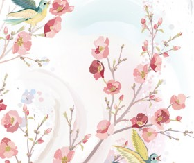 Watercolor flowers and birds vector material 01