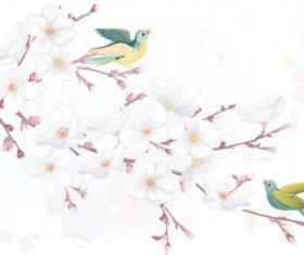 Watercolor flowers and birds vector material 02
