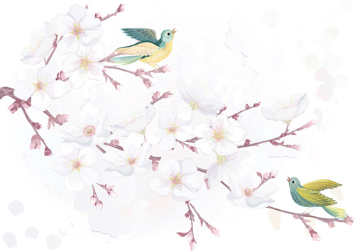 Watercolor Flowers And Birds Vector Material 02 Vector
