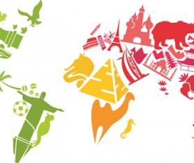 World famous buildings and animal colored silhouettes