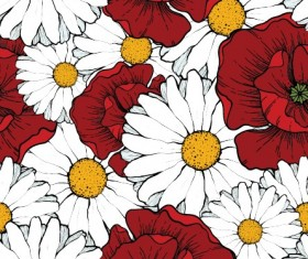 Beautiful flowers seamless pattern art vector 04