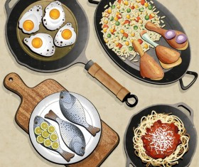 frying pan and food design vector 01
