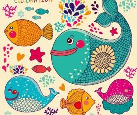 lovely cartoon fish design vector graphics