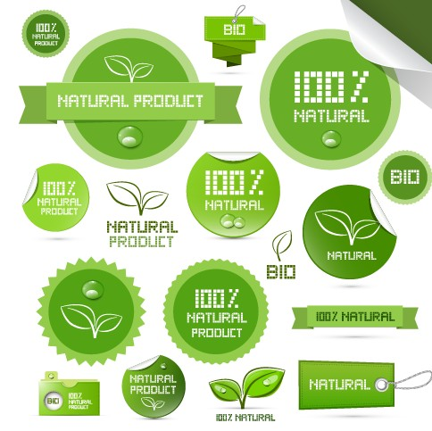 Creative natural product stickers and labels vector 02 ...