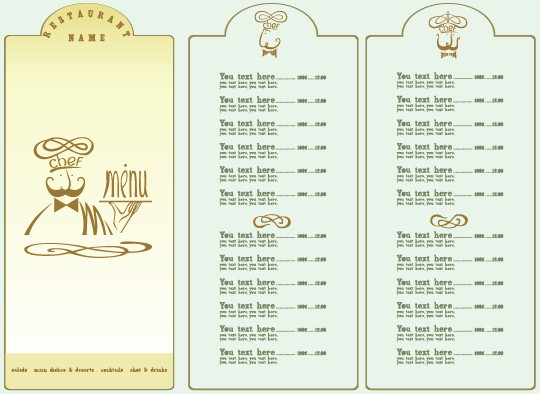List Of Elements Of Design : Restaurant menu list design elements vector cover