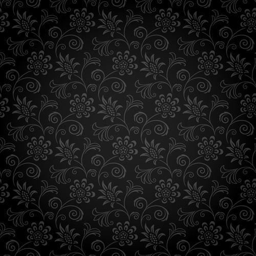 Dark ornate floral seamless pattern vector 01