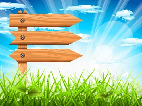 Vibrant Spring Elements Vector Background Art 04