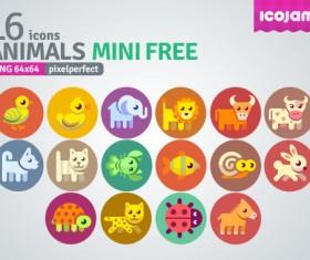 16 Kind cartoon animals mini icons
