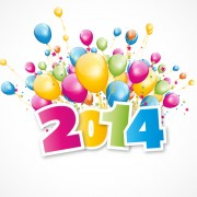 Link to2014 with colored balloon background vector