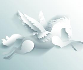3D white paper cut horse vector