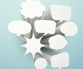3D white text cloud design vector