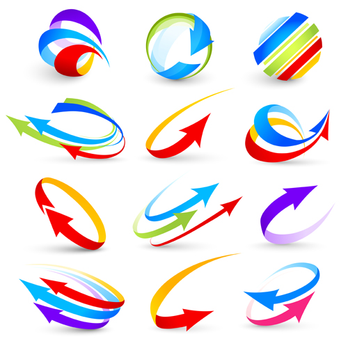 abstract colorful arrows vector graphics free download