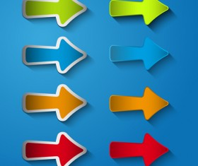 Arrows stickers creative vector