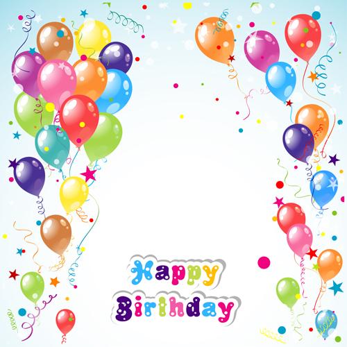 Balloon ribbon happy birthday background material 01