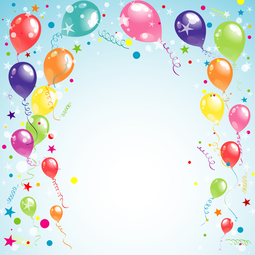 Balloon Ribbon Happy Birthday Background Material 02 Free