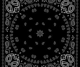 Black with white bandana patterns design vector 01