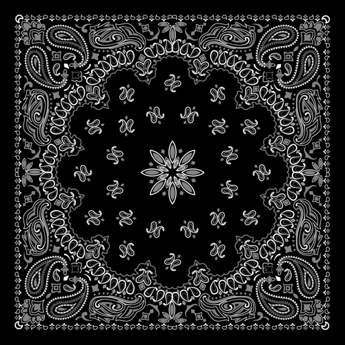 Black With White Bandana Patterns Design Vector 40 Free Download Cool Bandana Pattern