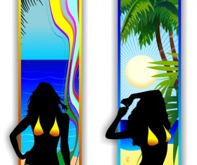 Beach travel people silhouette banner vector 01