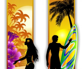 Beach travel people silhouette banner vector 02
