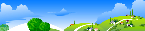 Beautiful cartoon landscapes vector set 04