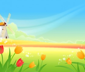 Beautiful cartoon landscapes vector set 07