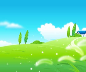 Beautiful cartoon landscapes vector set 08