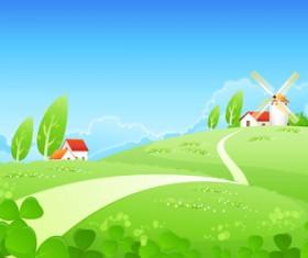 Beautiful cartoon landscapes vector set 11