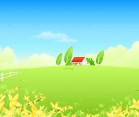 Beautiful cartoon landscapes vector set 12