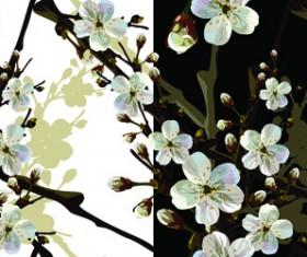 Beautiful cherry drawn elements vector