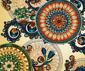 Beautiful ethnic style seamless patterns vector set 03