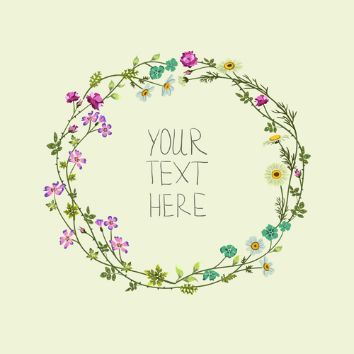 Beautiful Flower Frames With Vintage Background 02