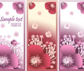 Beautiful flower vertical banner vector set