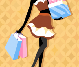 Beautiful girl with fashion elements vector 01