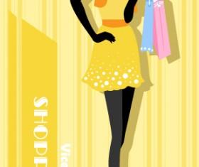 Beautiful shopping girl vector material 01