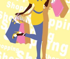 Beautiful shopping girl vector material 02
